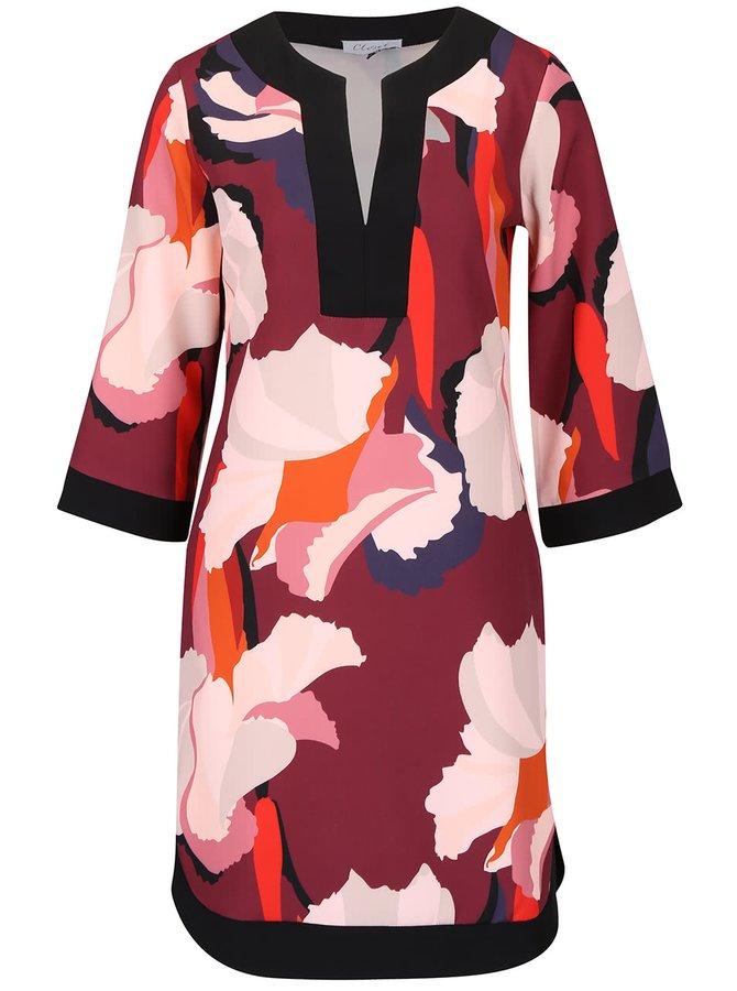 Krémovo-vínové vzorované volnější šaty Closet