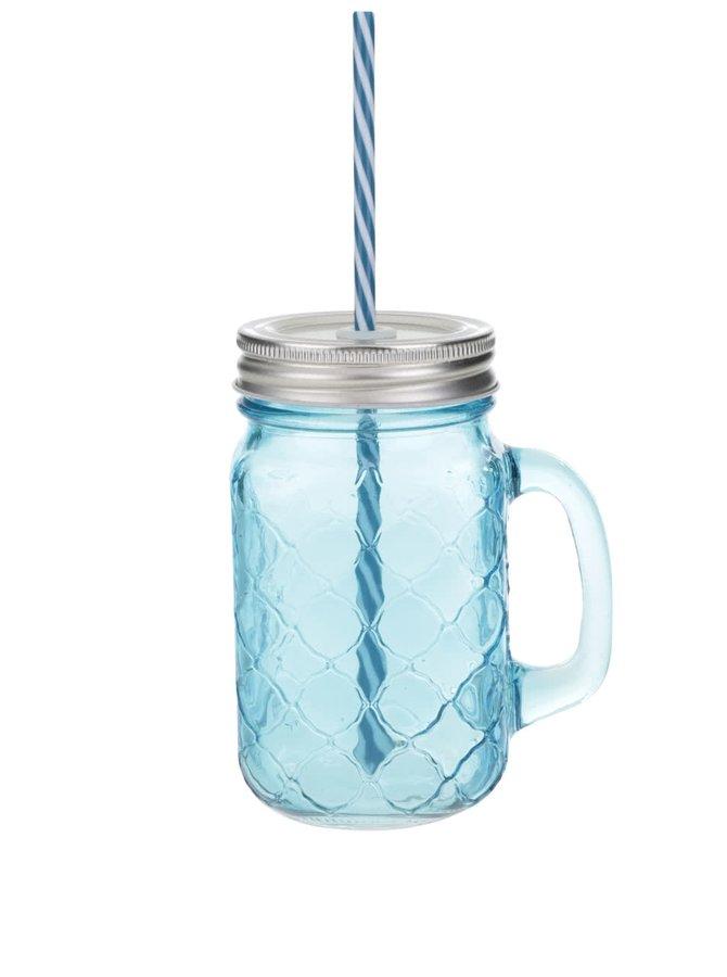 Modrý uzatvárateľný pohár so slamkou Kitchen Craft