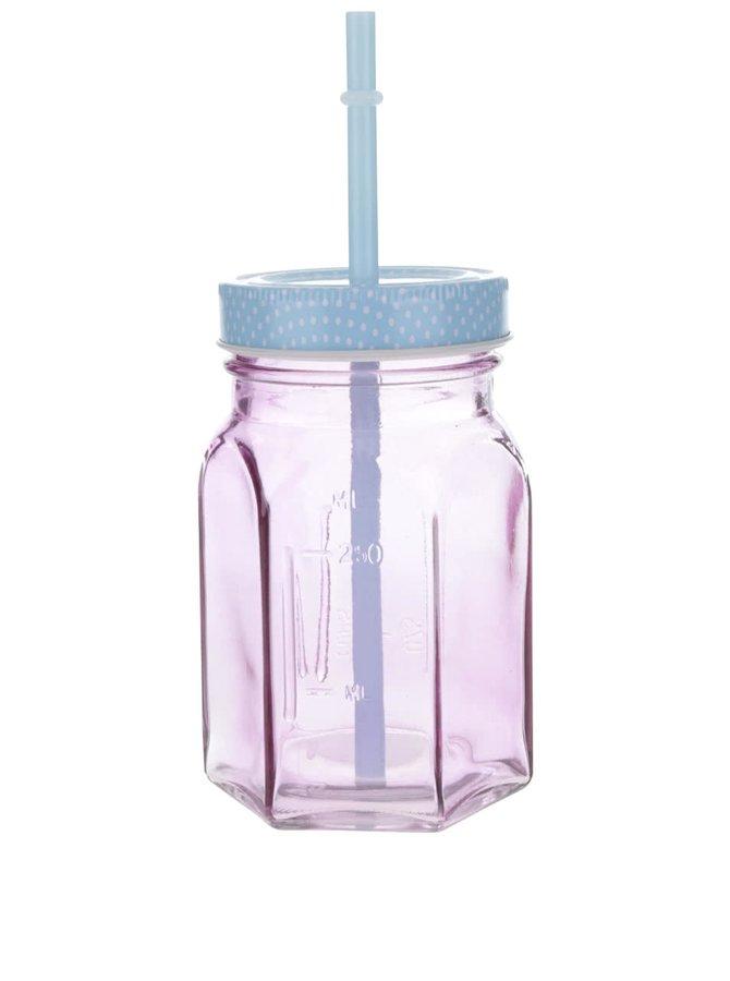Ružový uzatvárateľný pohár so slamkou Kitchen Craft