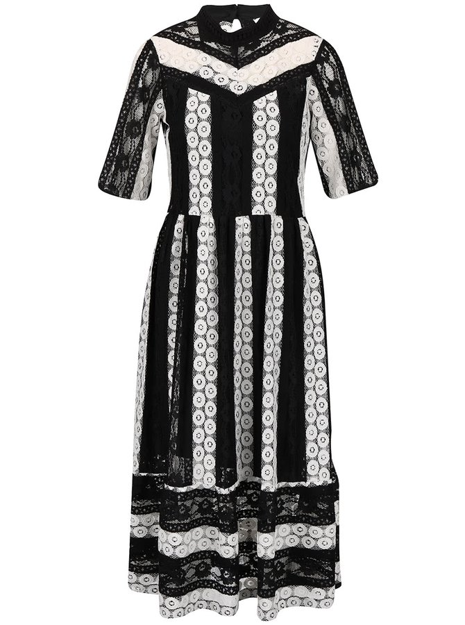 Bílo-černé krajkové šaty se stojáčkem Closet