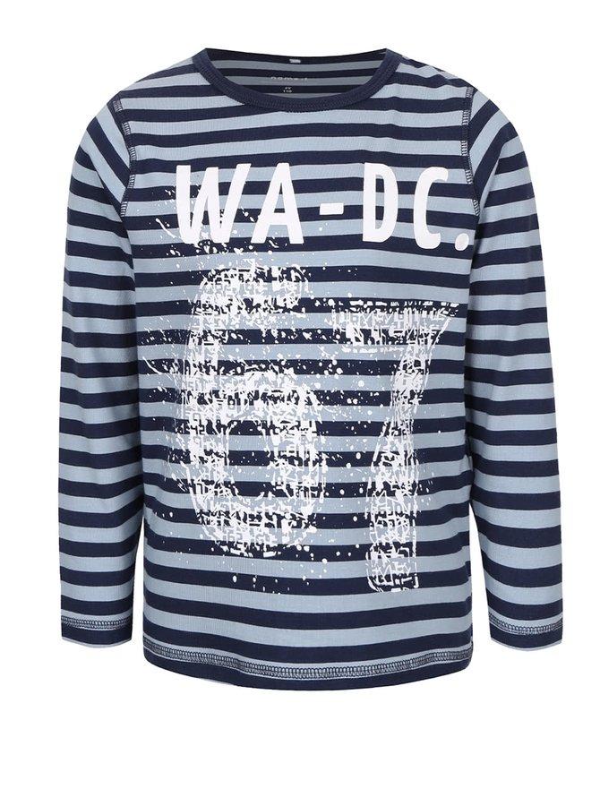 Tmavomodré pruhované chlapčenské tričko s dlhým rukávom Name it Vux