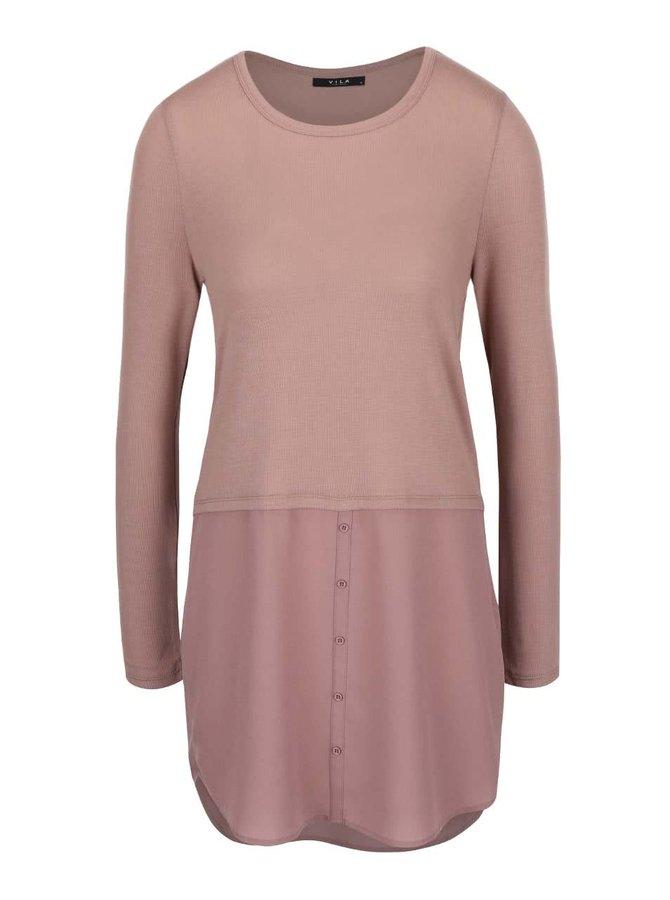 Bluză roz VILA Kaluka cu aspect 2în1