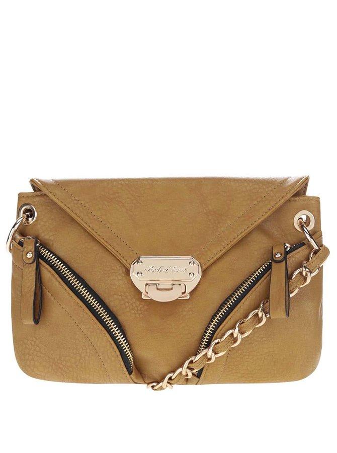Horčicová kabelka so zipsami a klopou Andrea Bucci