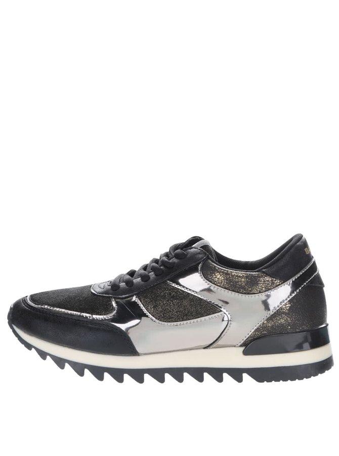 Pantofi sport negri Bassed cu detalii lucioase