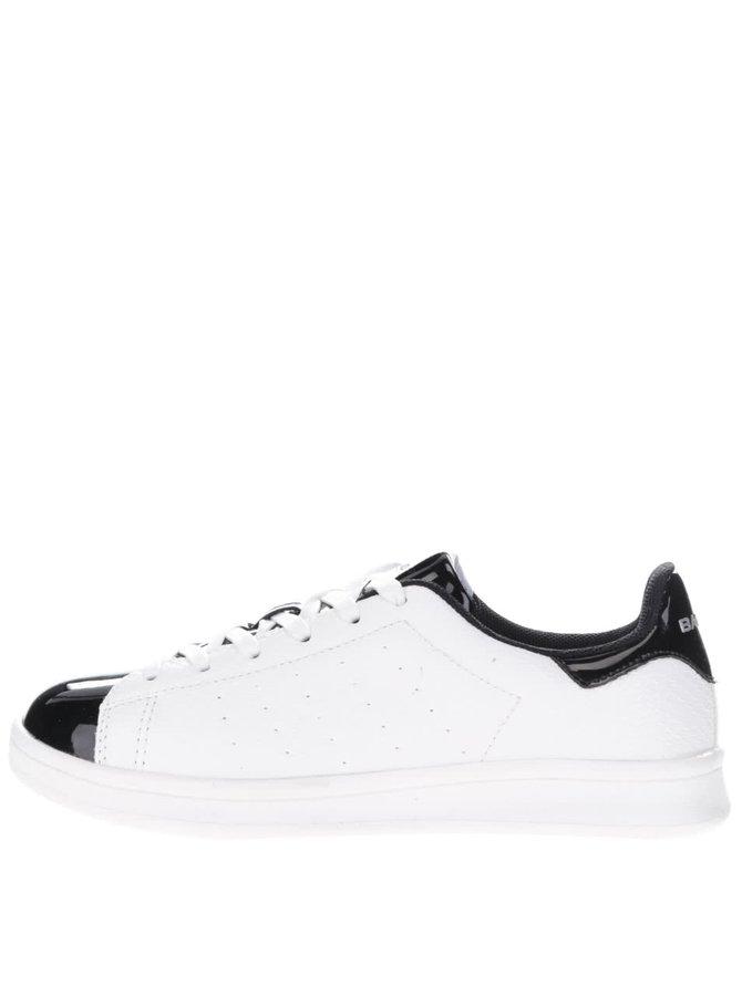 Biele dámske tenisky s čiernymi lesklými detailmi Bassed
