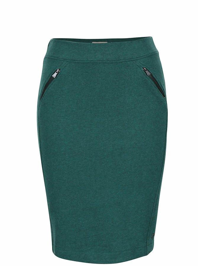 Tmavozelená sukňa s vreckami na zips Skunkfunk Aia