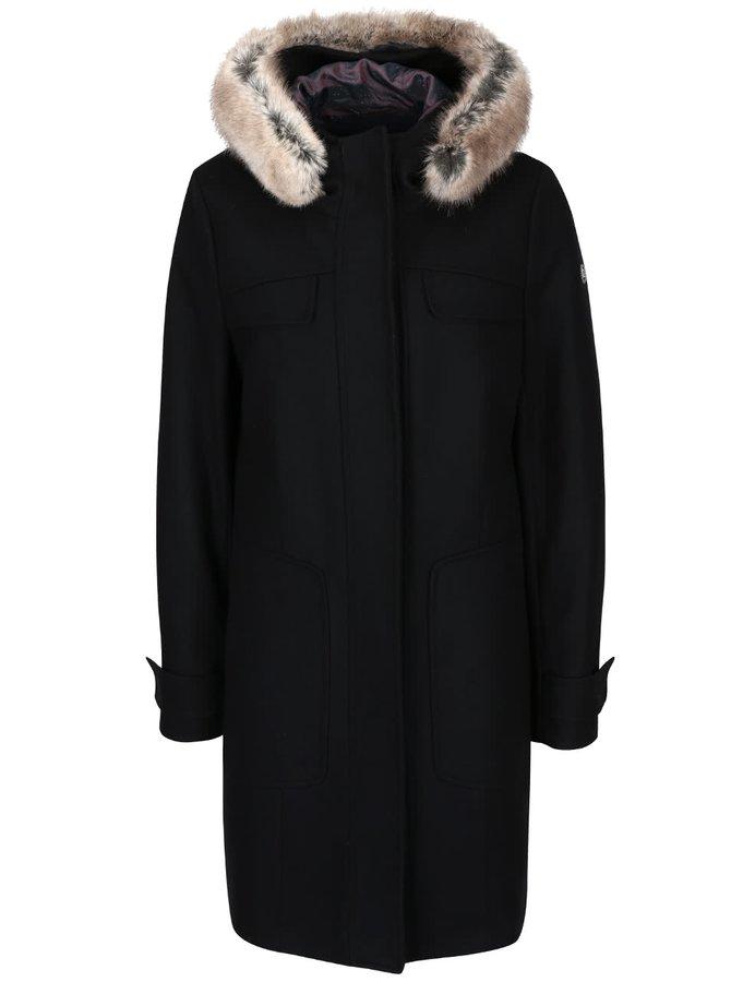 Čierny dámsky vlnený kabát s kapucňou bugatti