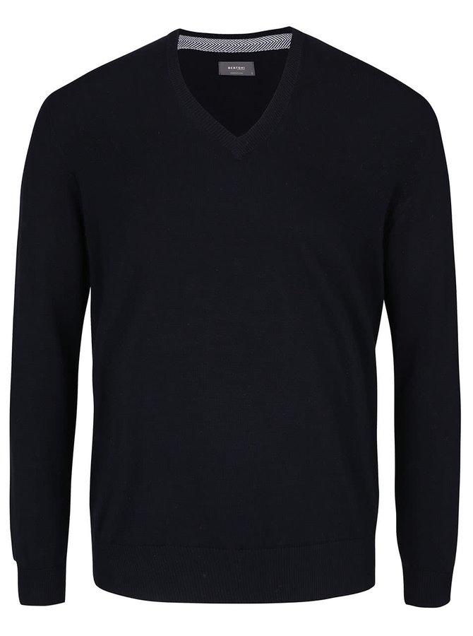 Tmavě modrý svetr s véčkovým výstřihem Bertoni Alf