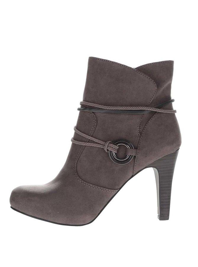 Hnědé boty na podpatku v semišové úpravě Tamaris