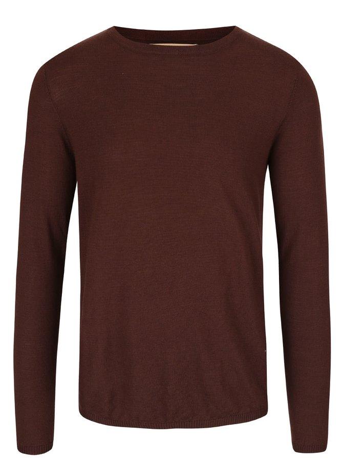Tmavohnedý sveter z Merino vlny Bertoni Laus