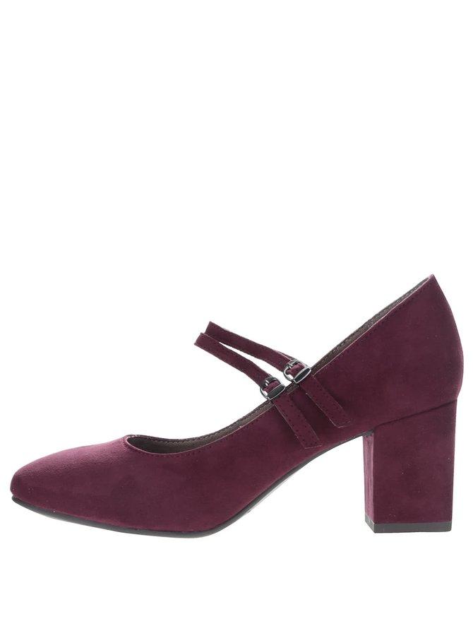 Vínové topánky na podpätku v semišovej úprave Tamaris