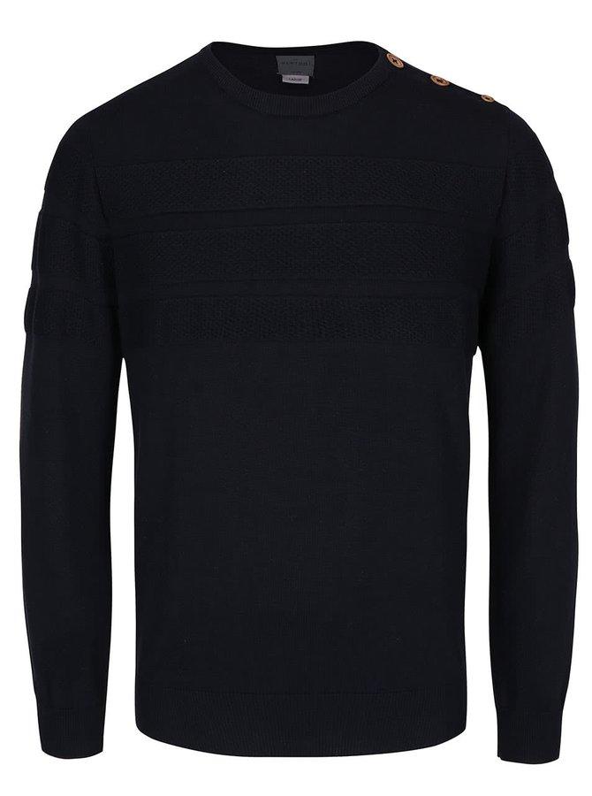 Tmavě modrý svetr s knoflíky na rameni Bertoni Esben
