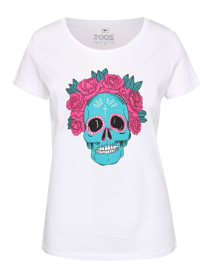 Biele dámske tričko s lebkou ZOOT Originál Muerte