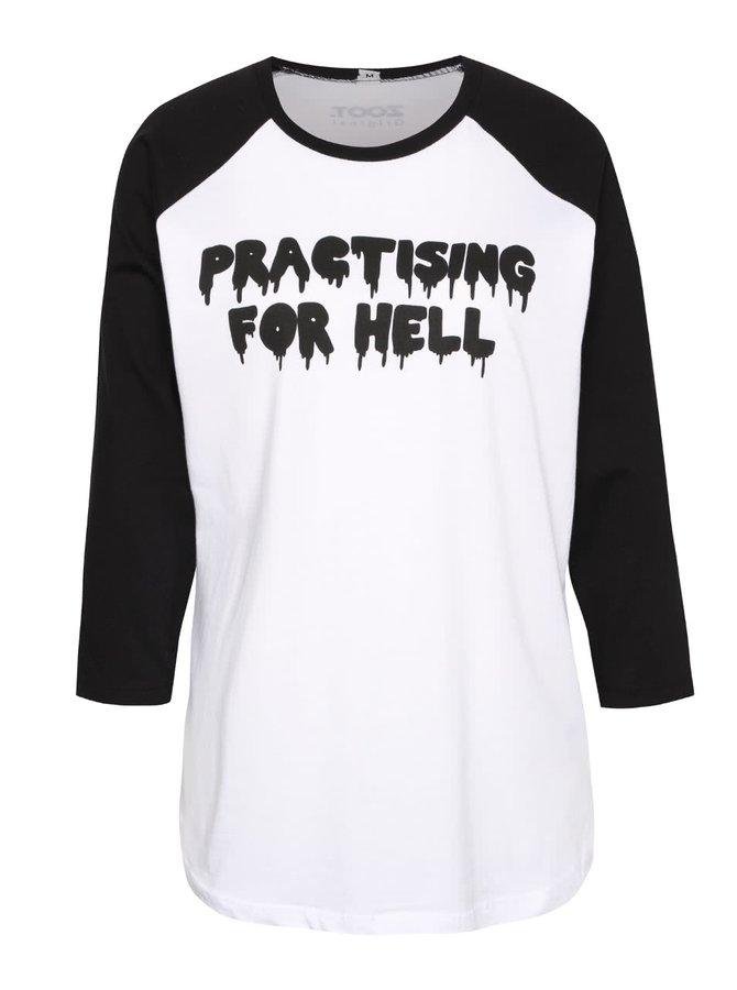 Černo-bílé dámské tričko s nápisem ZOOT Originál Practising