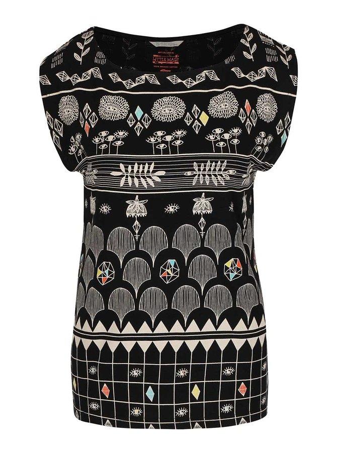 Čierne vzorované tričko Skunkfunk Julia