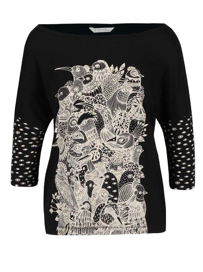 Bluză neagră Skunkfunk Kemnay cu print