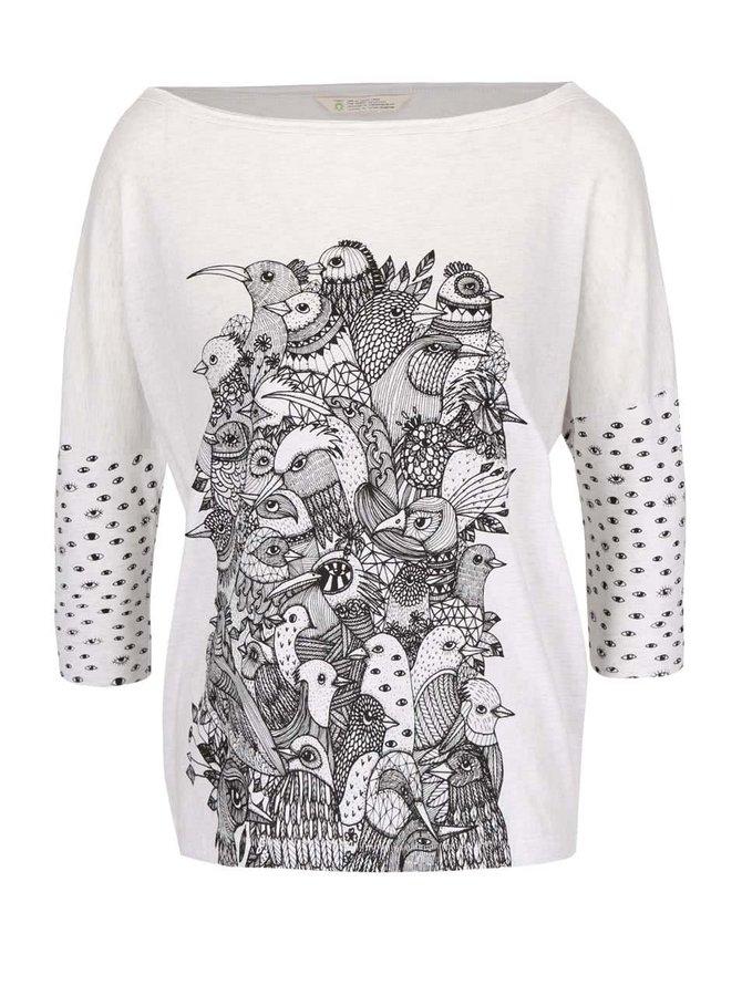Krémové melírované oversize tričko s potlačou Skunkfunk Kemnay