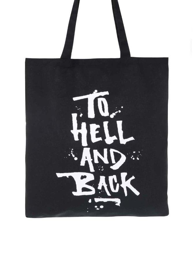 Geantă de pânză ZOOT Original To Hell neagră cu mesaj