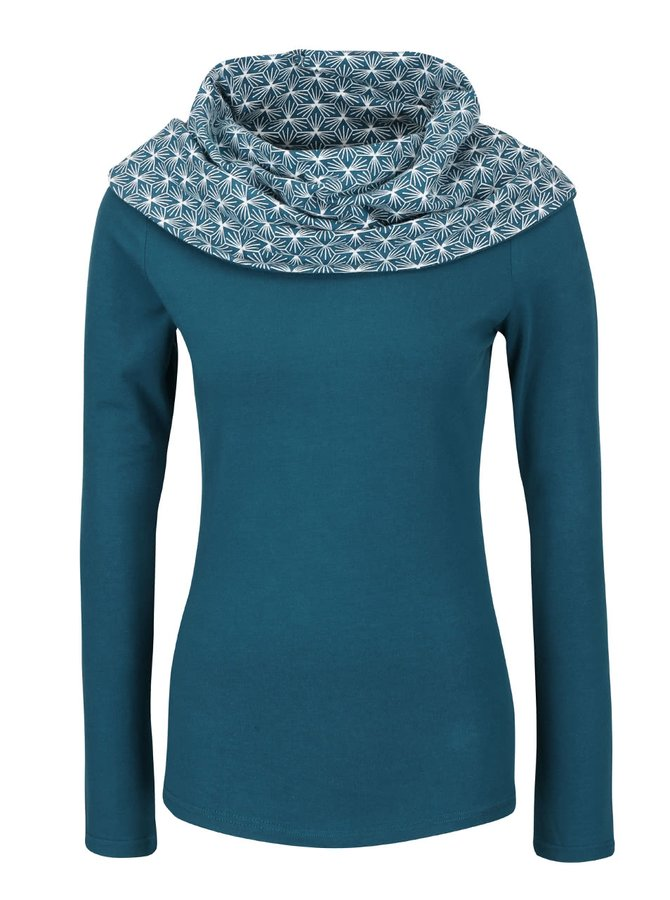 Bluză albastru petrol Tranquillo Selim cu guler înalt