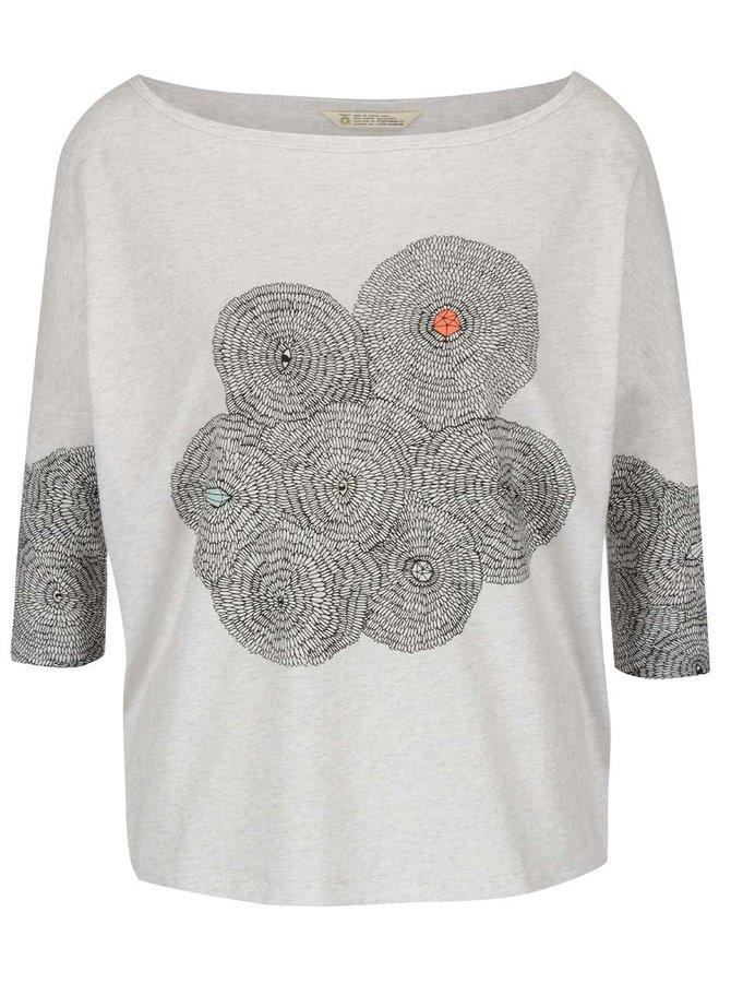 Krémové žíhané oversize tričko se vzorem Skunkfunk Maindy
