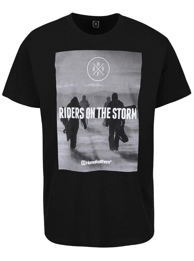 Čierne pánske tričko s potlačou Horsefeathers Snowstorm