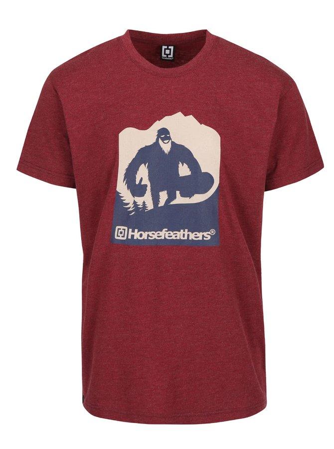 Tricou vișiniu Yetiho Horsefeathers Yeti cu print