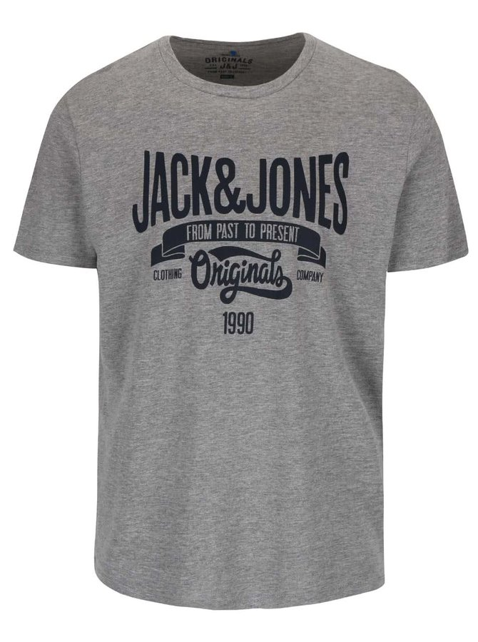 Tricou gri Jack & Jones Rraffa cu imprimeu și model discret