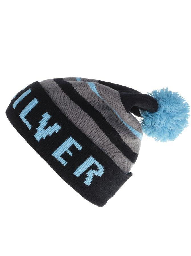 Modro-čierna pánska pruhovaná čiapka s brmbolcom Quiksilver Summit