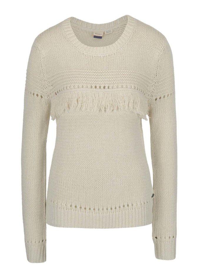 Krémový sveter so strapcami Roxy Cove