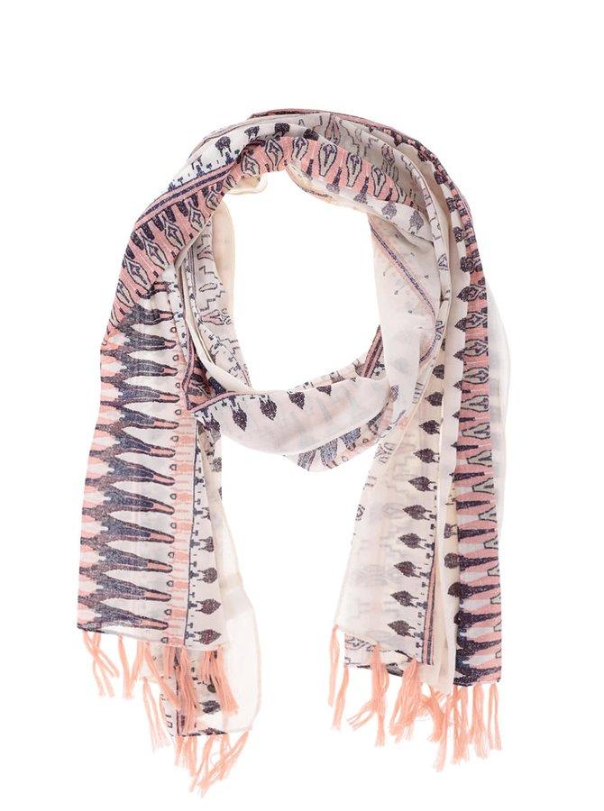 Koralový vzorovaný šál so strapcami Roxy Happiest