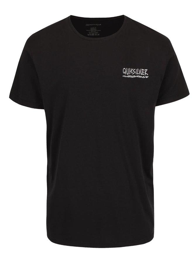 Tricou negru Quiksilver Garm din bumbac cu imprimeu