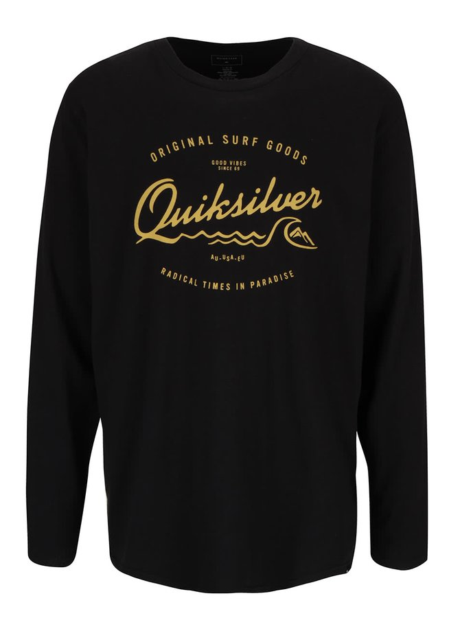 Černé pánské triko s nápisem a dlouhým rukávem Quiksilver Classteels Westp