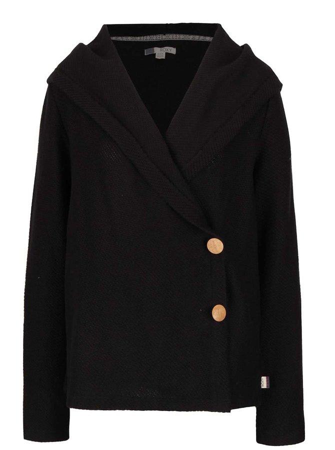 Černý cardigan s kapucí a dřevěnými knoflíky Roxy Knot A Care