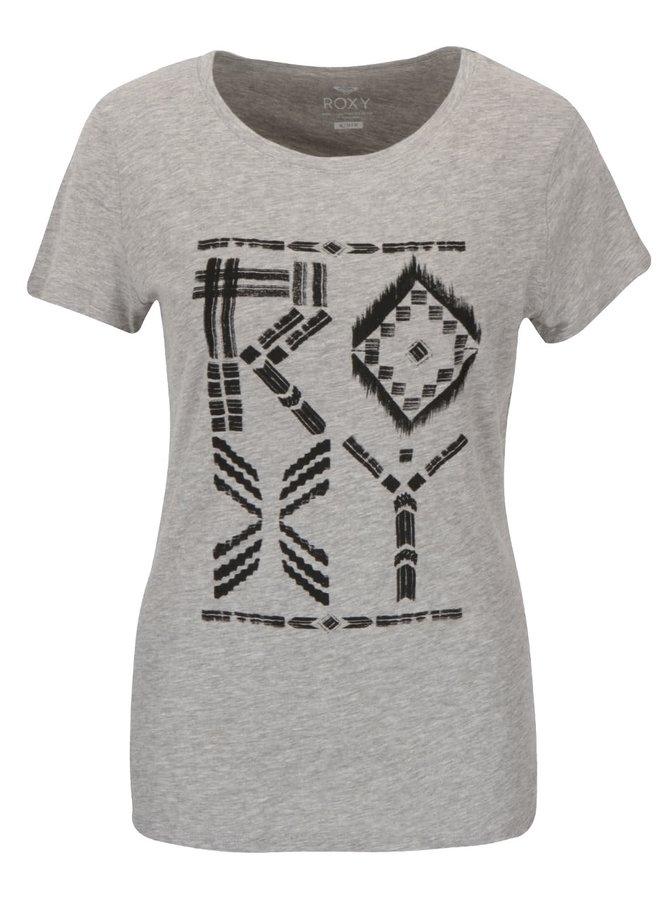 Tricou gri Roxy Crewrxytribes cu print