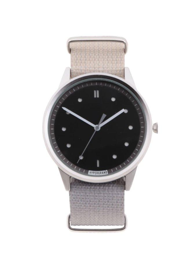 Šedé pánské hodinky s černým ciferníkem HYPERGRAND