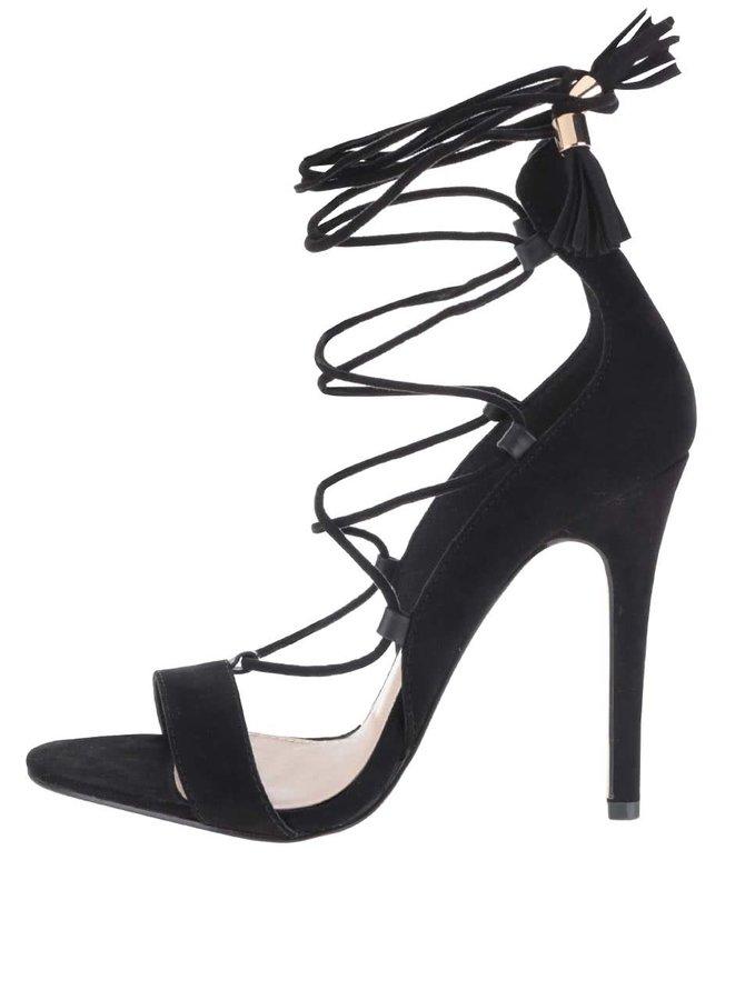 Černé sandálky v semišové úpravě na jehlovém podpatku Miss Selfridge