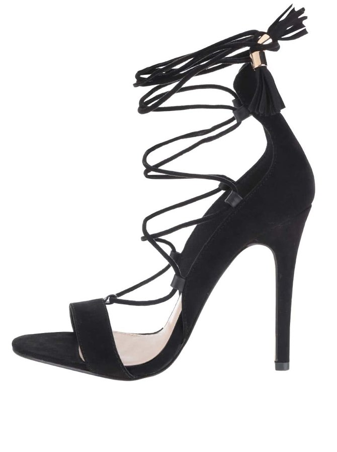 Čierne sandálky v semišovej úprave na ihličkovom podpätku Miss Selfridge