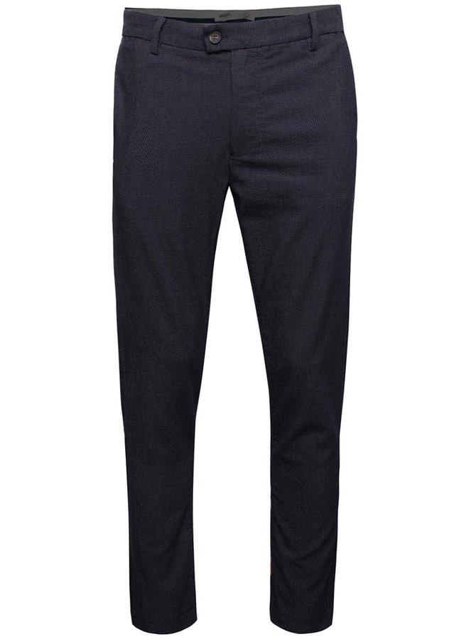 Tmavě modré slim fit kalhoty se vzorem Burton Menswear London