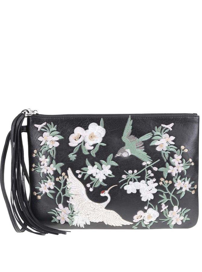 Černé psaníčko s výšivkou květin a ptáků Miss Selfridge