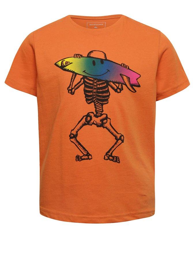 Oranžové klučičí tričko s krátkým rukávem a potiskem Quiksilver