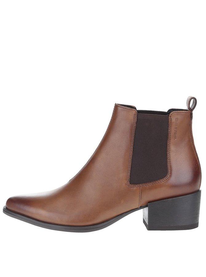 Světle hnědé dámské kožené chelsea boty na vyšším podpatku Vagabond Marja