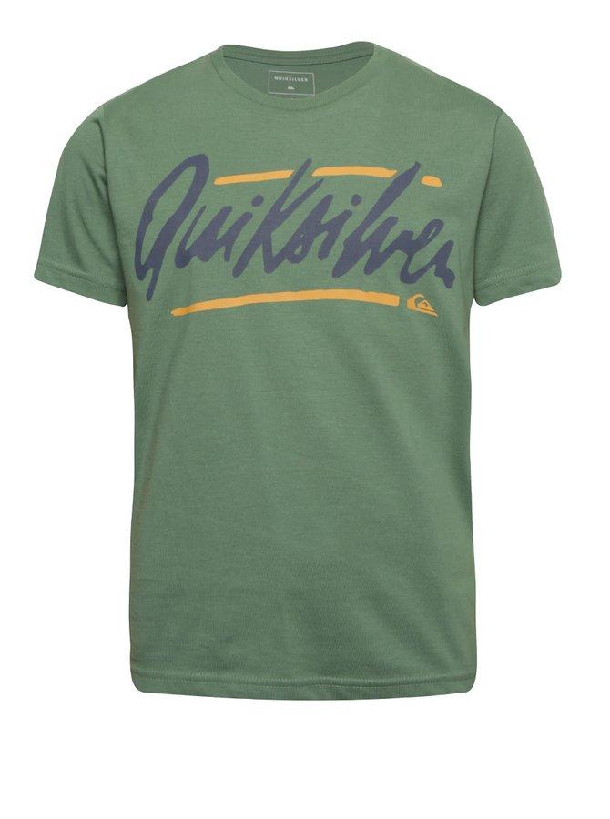 Zelené klučičí tričko s krátkým rukávem a nápisem Quiksilver