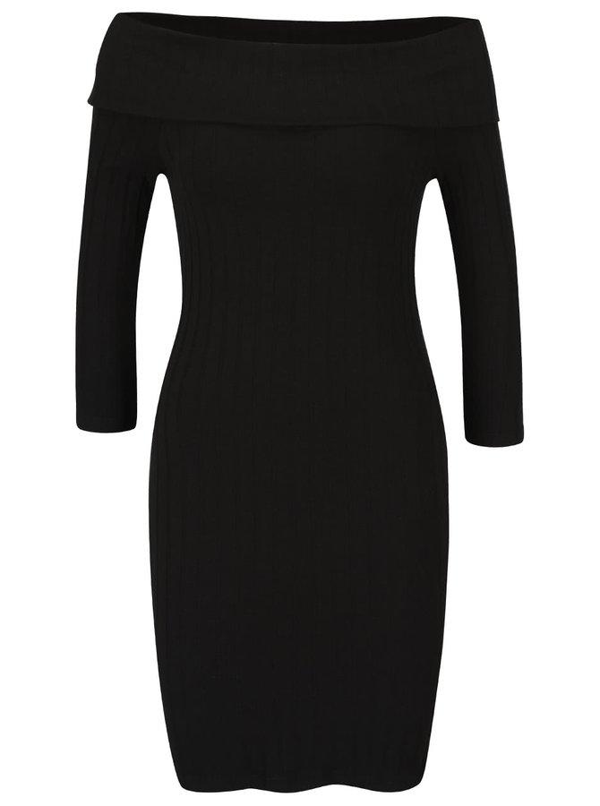 Černé šaty s odhalenými rameny Miss Selfridge