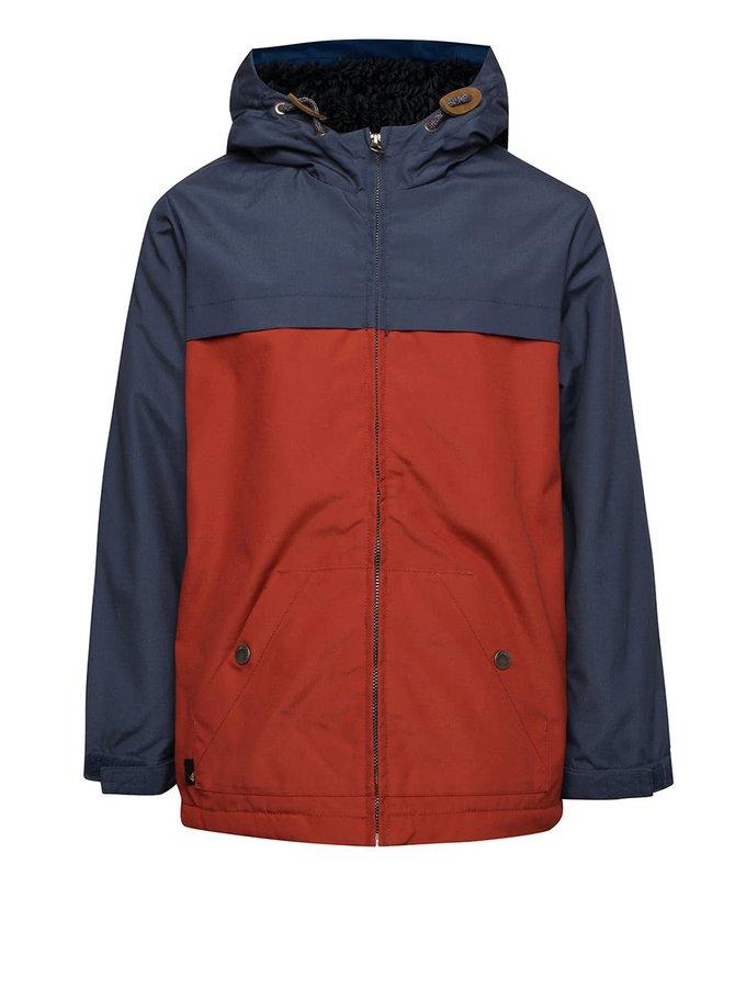 Tehlovo-modrá chlapčenská zimná bunda s umelým kožúškom Quiksilver