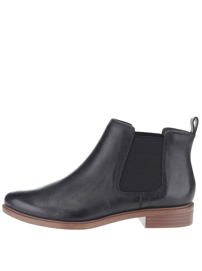 Čierne dámske kožené chelsea topánky Clarks Taylor