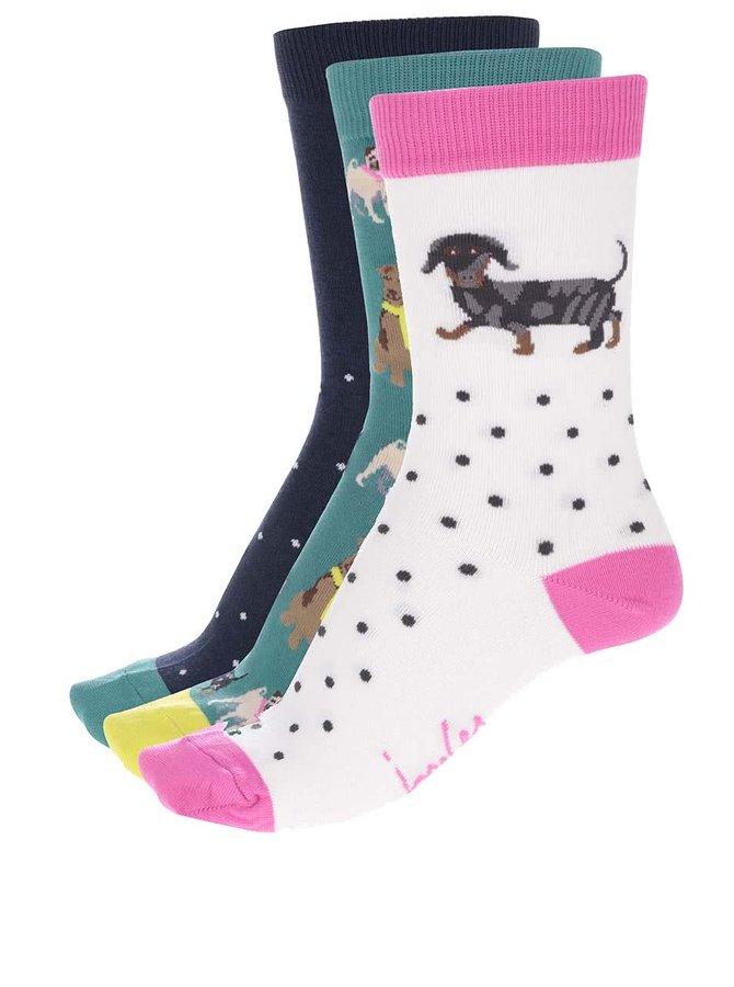 Sada tří párů barevných ponožek se potiskem psů Tom Joule