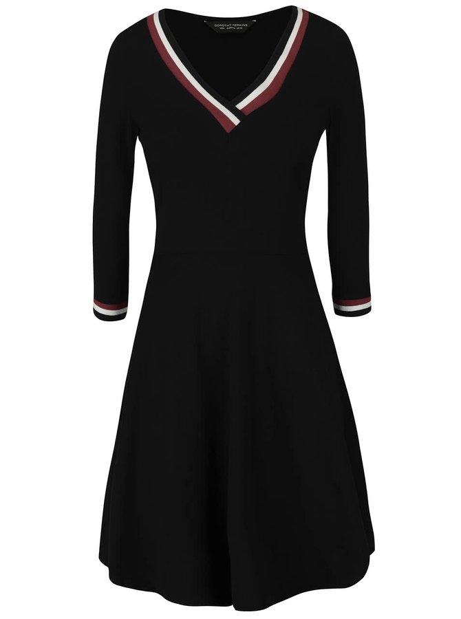 Čierne šaty s bielo-červeným lemovaním Dorothy Perkins