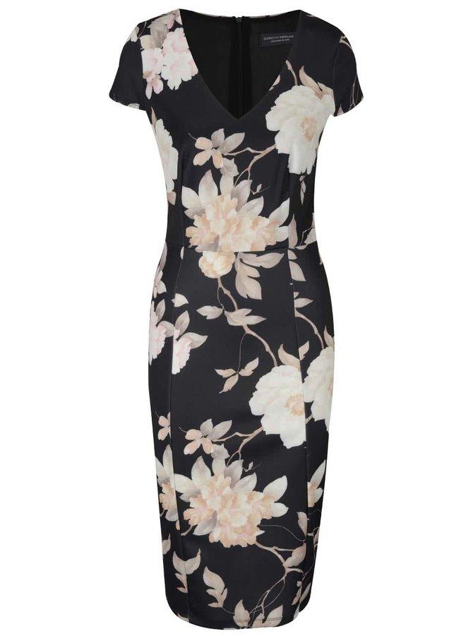 Čierne puzdrové šaty s kvetovaným vzorom Dorothy Perkins