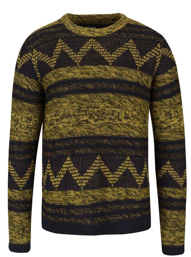 Modro-žlutý vzorovaný svetr ONLY & SONS Dudley
