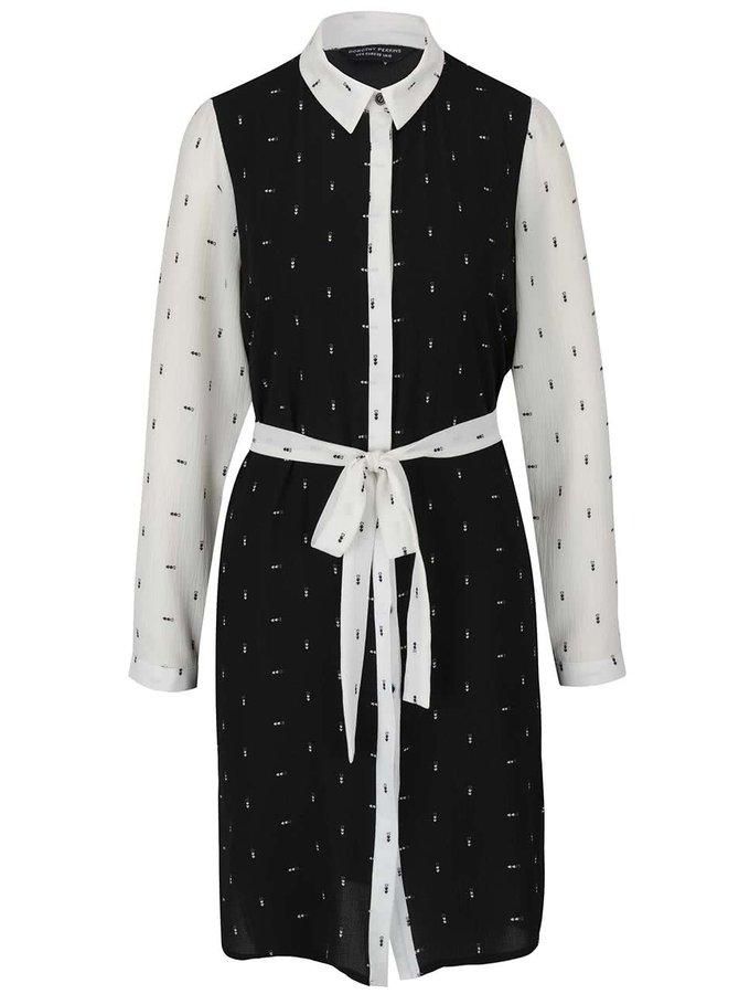 Krémovo-černé propínací šaty s vázankou Dorothy Perkins